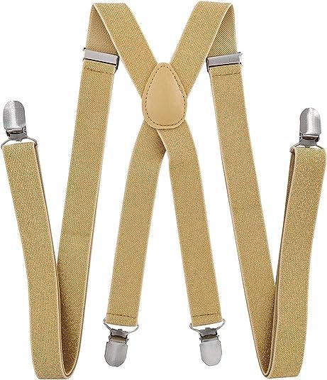 Axy - Tirantes para hombre (2, 5 cm de ancho, con 4 clips fuertes, forma de X, para mujer Oro (con hilos de purpurina). Talla única: Amazon.es: Ropa y accesorios