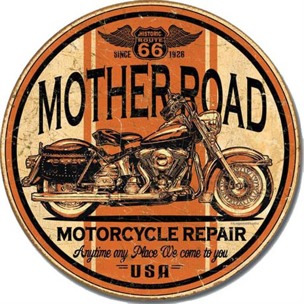 Signs 4 Fun SR66M Route 66 Motorcycle Repair Round Sign Orange