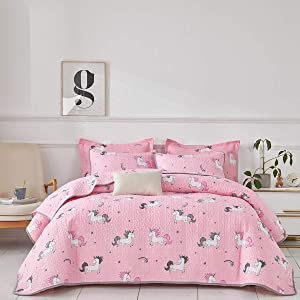 Uozzi Bedding 3 Piece Reversible Pink Unicorn Queen Quilt Set with Rainbow and Stars Cute Style Soft Microfiber Lightweight Coverlet Bedspread for All Season