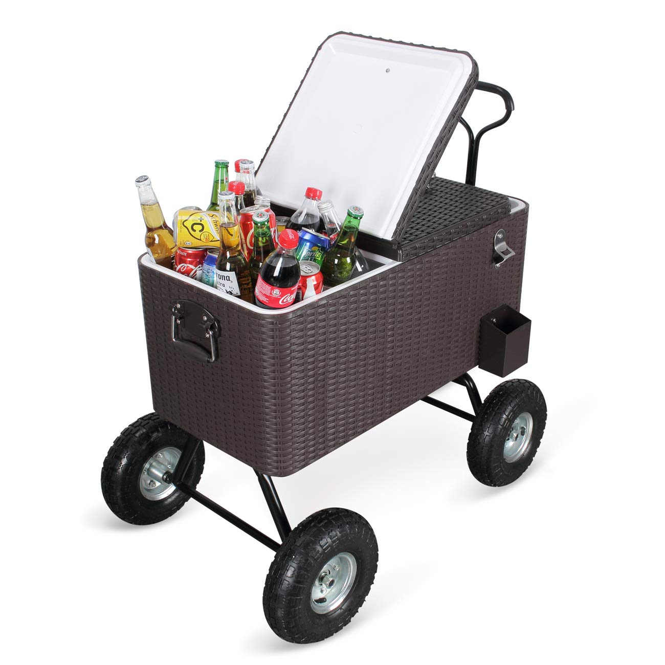Belleze Portable 80 Qt Cold Drink Cooler Wagon Backyard Patio Beach Party w Built-in Bottle Opener and Catch Tray