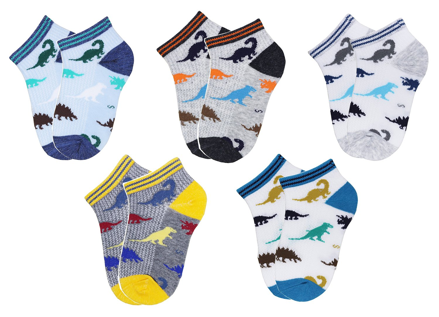 CHUNG Little Boys Thin Half-Mesh Low Cut Socks Summer No Show 5 Pack, Dinosaur 01, 7-9Y by CHUNG