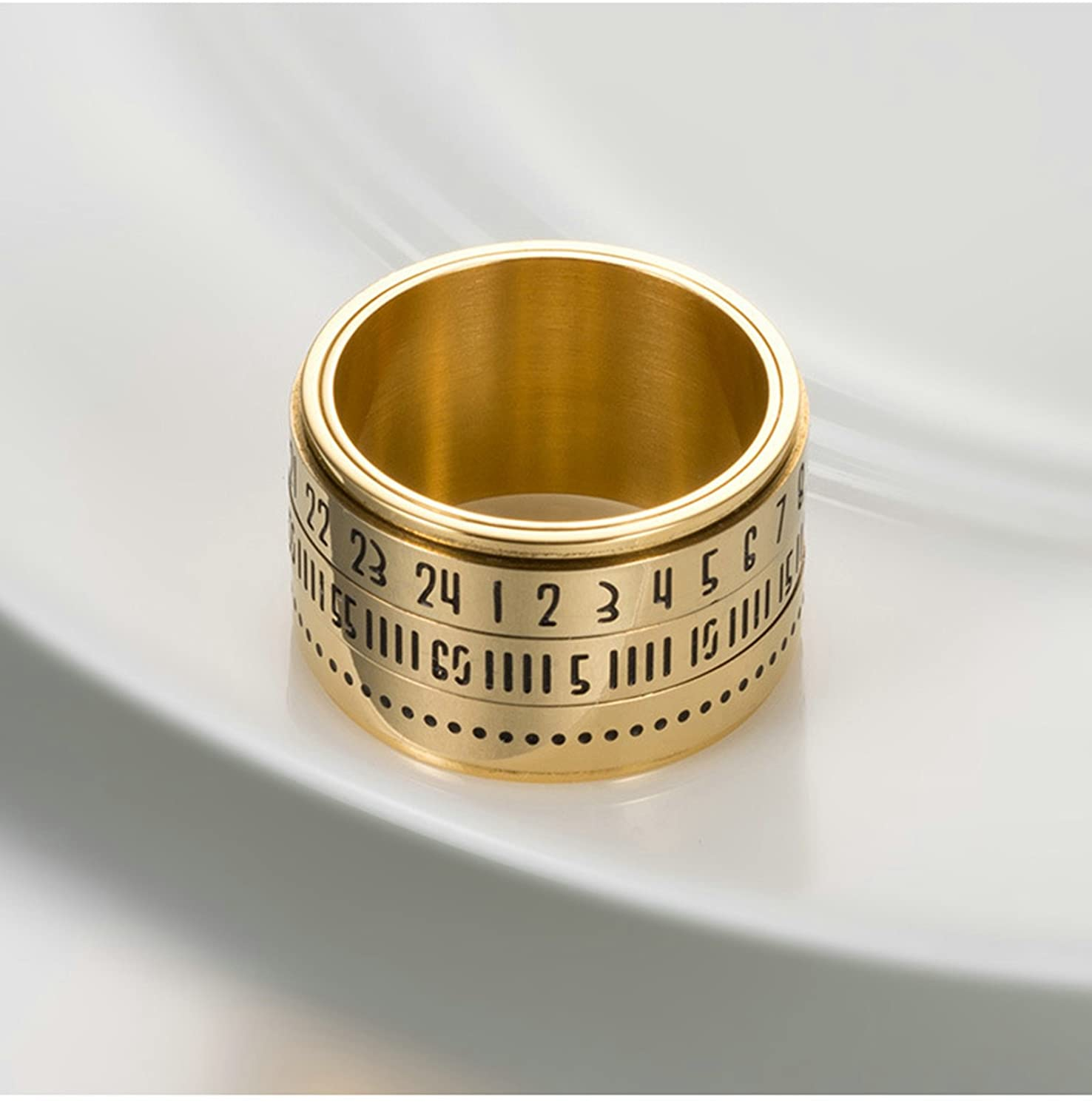 Bishilin Stainless Steel Rings for Him Arabic Numerals Wedding Ring for Men Gold Size 11