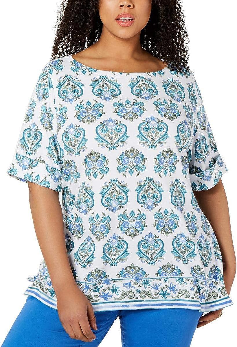 Karen Scott Womens Plus Printed Boat Neck Pullover Top