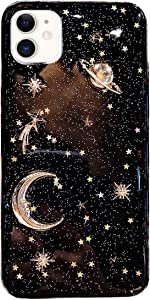 Bonitec Compatible with iPhone 12 Case 3D Bling Planet Glitter with Space Sparkle Moon Star Universe Flexible Soft TPU Protection Shockproof Protective Cases Cover Gold