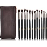 MSQ Eyeshadow Brushes 12pcs Rose Gold Eye Make Up Brush Set with Bag (PU Leather Pouch) Soft Natural Hairs for Eyeshadow, Eyebrow, Eyeliner, Blending, Best Gifts - Rose Gold