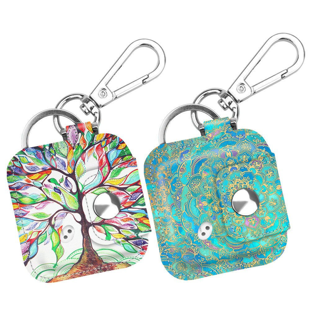 [2 Pack] Fintie Tile Mate/Tile Sport/Tile Style Case with Carabiner Keychain, Anti-scratch Vegan Leather Protective Cover for Tile Mate & Tile Pro Series Item Tracker, Love Tree + Shades of Blue