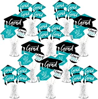 product image for Big Dot of Happiness Teal Grad - Best is Yet to Come - 2021 Turquoise Graduation Party Centerpiece Sticks - Showstopper Table Toppers - 35 Pieces