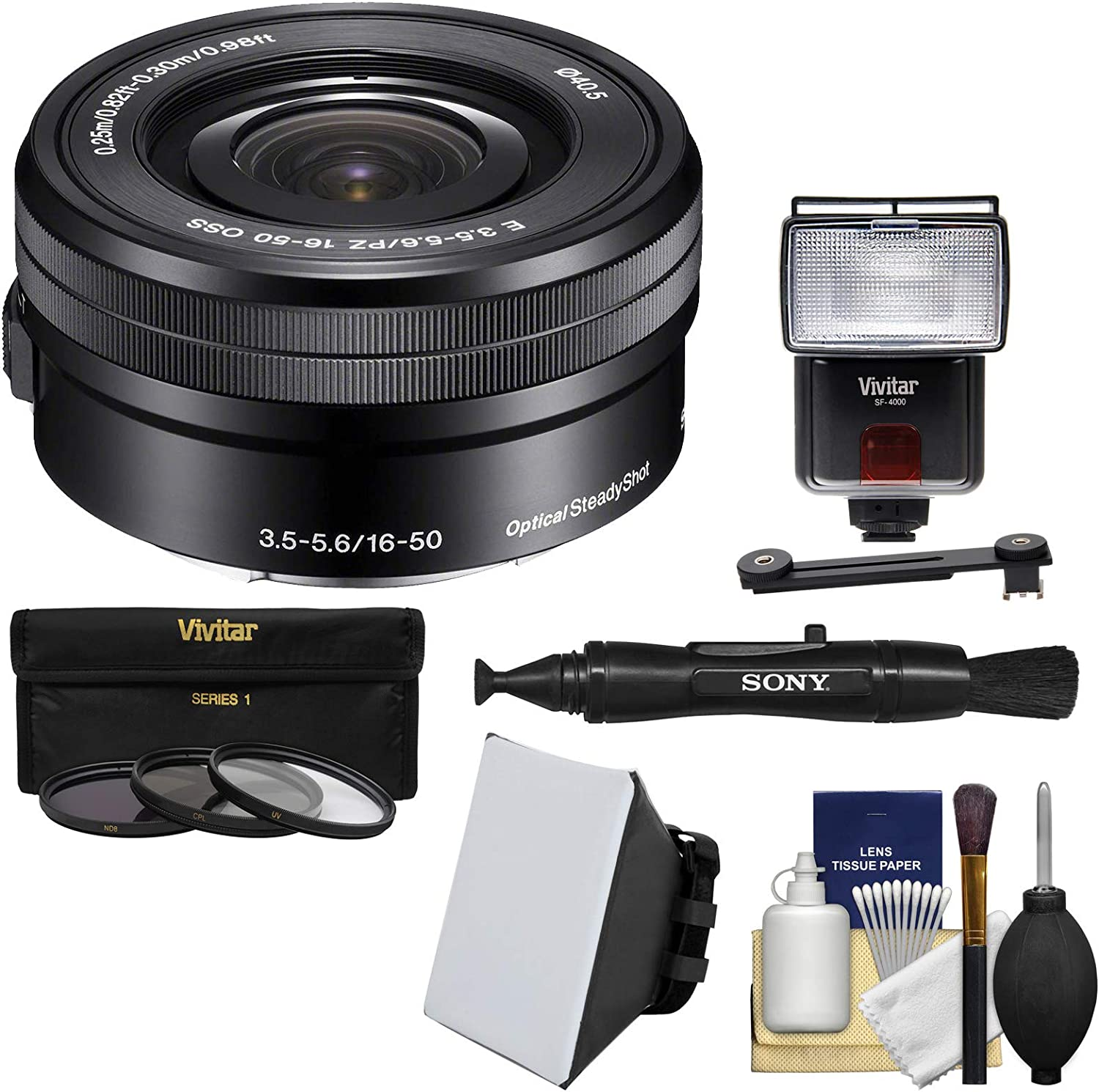 NEX-6 Camera with Sony 16-50mm E-Mount Lens NEX-5TL A6000 and 4 PC Close Up Filter Set for Sony Alpha A5000 A6500 7 Piece 40.5mm Filter Set Includes 3 PC Filter Kit UV-CPL-FLD A5100 A6300