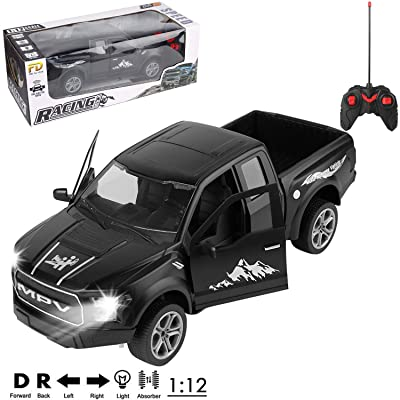 1/12 Scale All Terrain Remote Control Truck Black 4x4 Pickup R/C Toy Car for Adults, Boys, Girls, Kids: Toys & Games