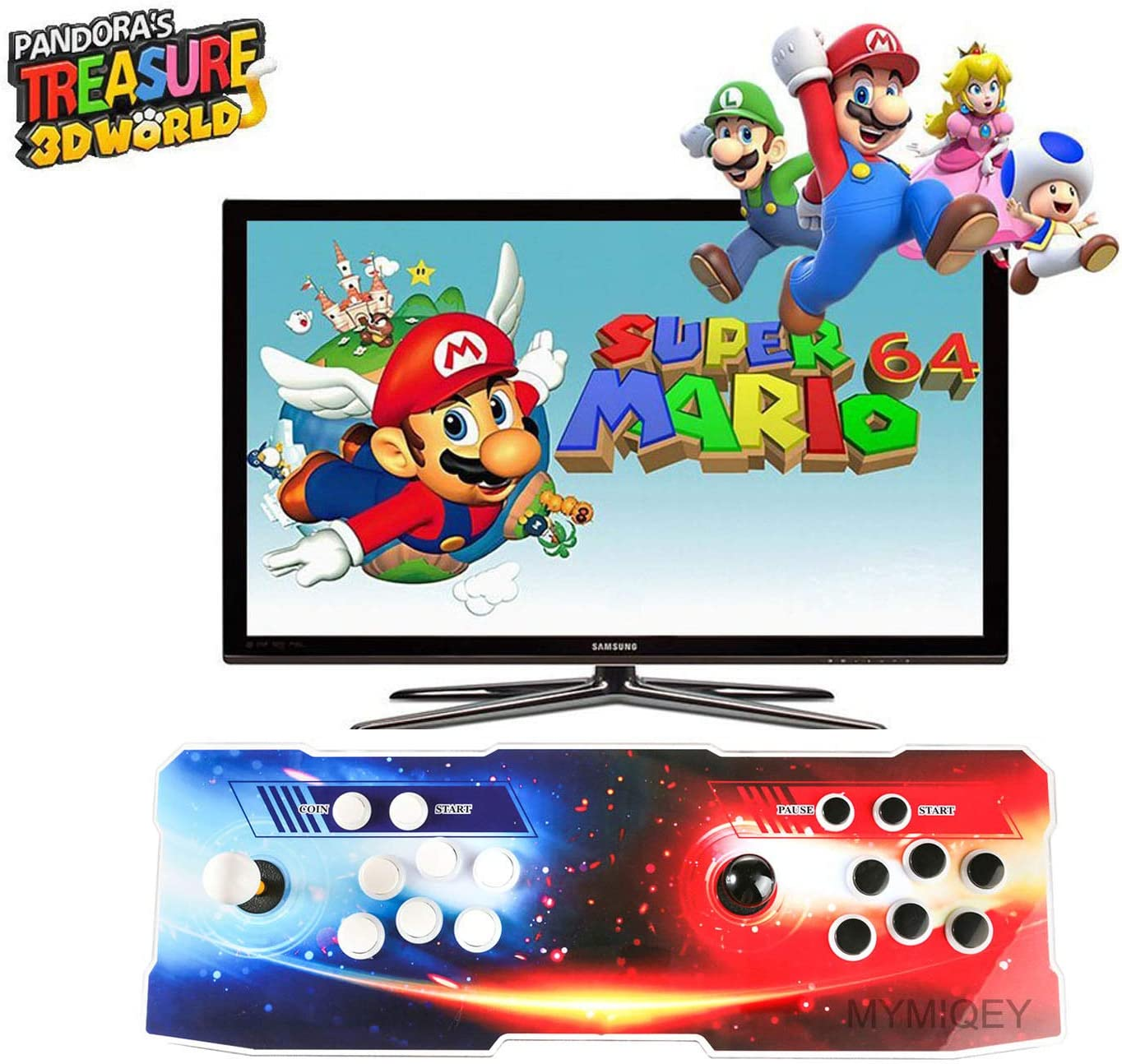 Pandora Treasure II Arcade Game Console, 2650 Retro HD Games, Support 3D Games, Search/Save/Hide/Pause Games, Add More Games, 1920x1080 Full HD, Support 4 Players Online, 2 Player Game Controls