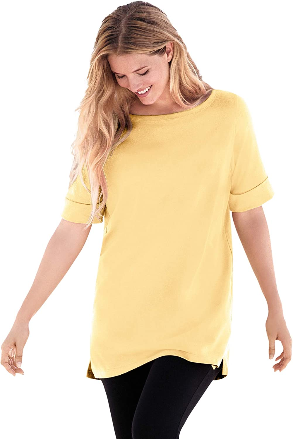 Woman Within Women's Plus Size Perfect Cuffed Elbow-Sleeve Boat-Neck Tee
