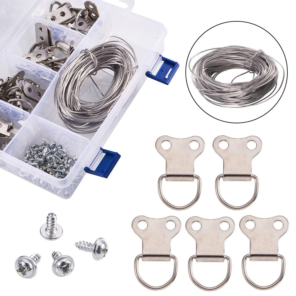 NBEADS 1 Box Silver Color Picture Hangers Kit Photo Frame Hanging Iron Tool Kits Assortment with Steel Wire Screw and D-Ring for Home Decoration
