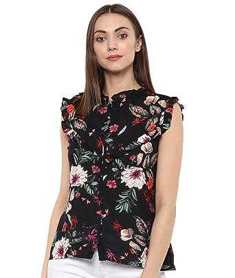 2a648a009d8 indietoga Women Black Printed Rayon Top (XS to Plus Size 7XL ...
