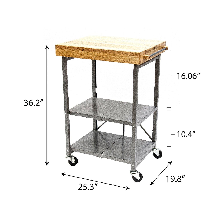 Amazon com origami foldable kitchen island cart silver home improvement