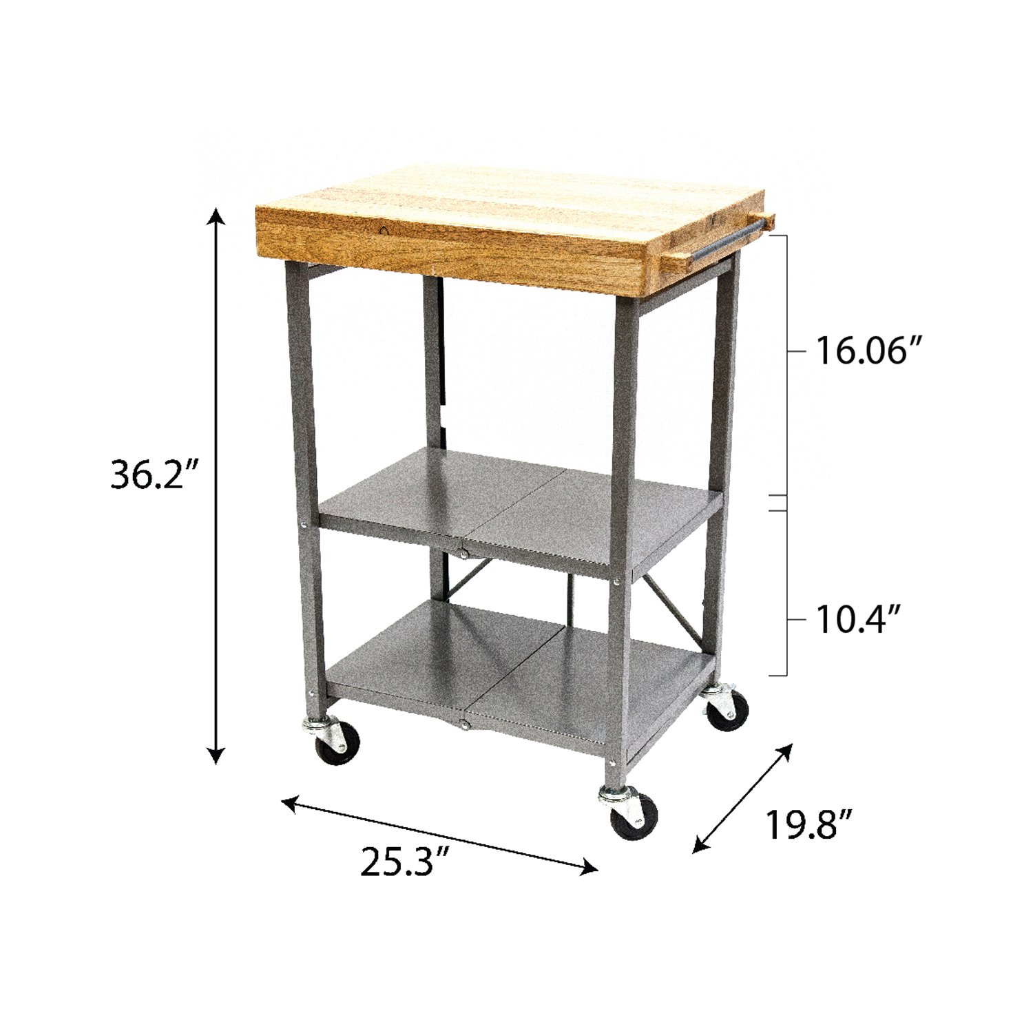 Origami Foldable Rolling Kitchen Island Cart, Food Serving Cart, 3-Tier Storage Shelf with Wood Top, Microwave Stand, Heavy Duty, Silver by Origami (Image #6)