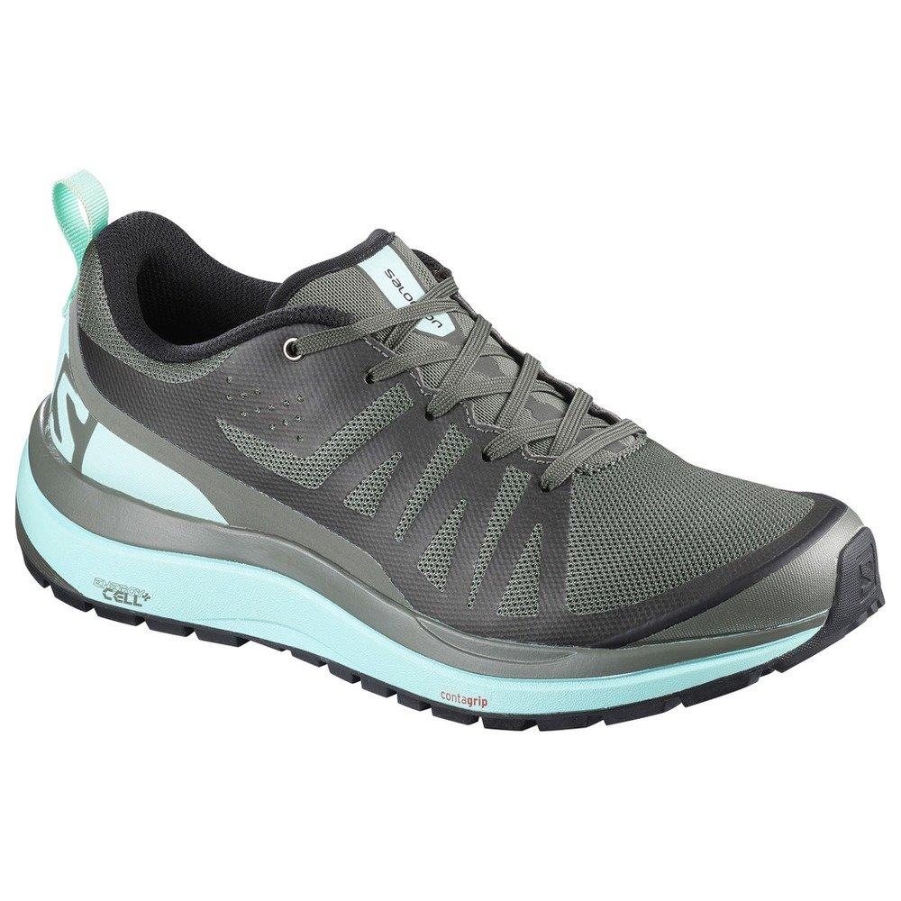Salomon Women's Odyssey Pro Hiking Shoes & Collapsing Water Bottle Bundle B077SKQLPG 7 B(M) US|Castor Gray / Eggshell