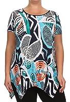 Womens Asymmetrical Short Sleeve Top Multi Top Plus