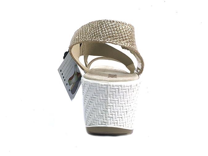7998 PLATINO Scarpa donna sandalo zeppa Enval soft pelle made in Italy hdf5tRM