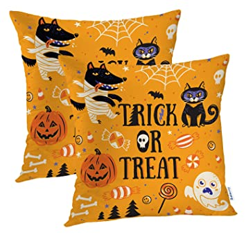 JI/_ Black Cat Pumpkin Witch Linen Pillow Case Cushion Cover Home Decor Healthy