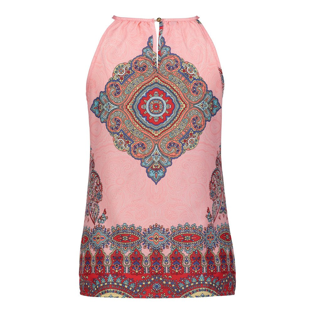 BAOHOKE Summer Beach Tank Top Casual Top, Women's Sleeveless Hanging Strapless t-Shirt(Pink,2XL)