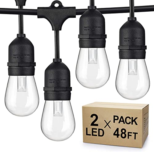 Dimmable LED Outdoor String Lights, 2-Pack 48FT Shatterproof Patio Lights, Linkable Hanging Lights with Vintage Edison Bulbs, IP65 Waterproof Commercial Lights String for Backyard, Garden, Porch, Deck