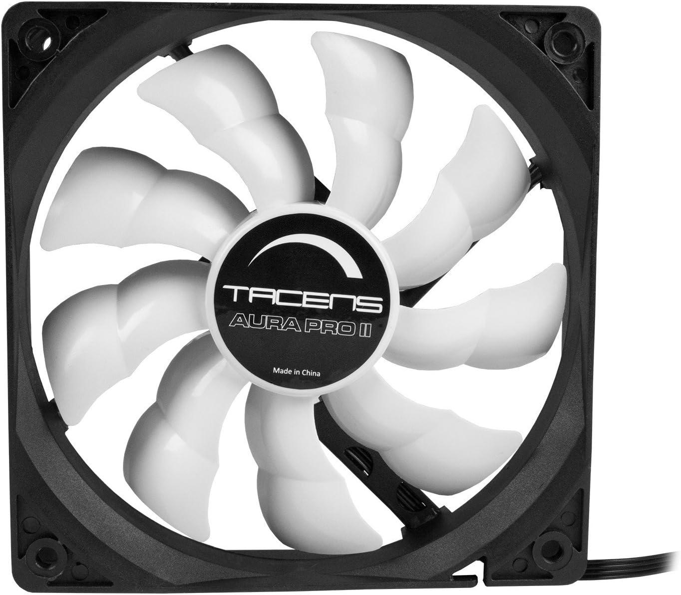 Tacens Aura Pro II - Ventilador para ordenador (12 cm, adaptadores de velocidad, PWM, ultra silencioso, anti-vibraciones), negro