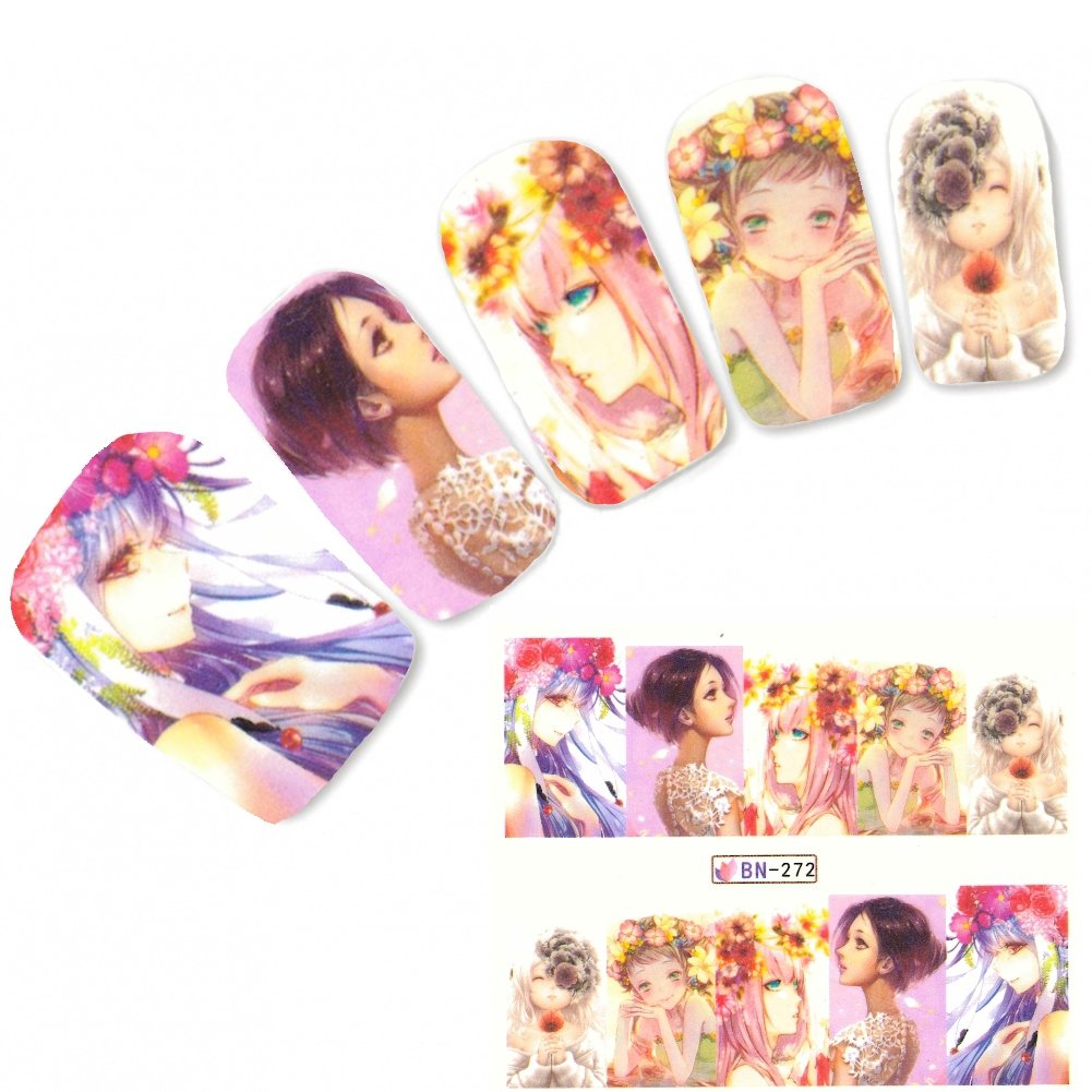 JUSTFOX - Tattoo Nail Art Manga Model Mädchen Lifestyle Nagel Sticker