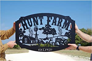 Family Name Custom Metal Farm Sign, Personalized Metal Sign Wall Hanging Wall Address Plaque Room Decor Monogram Wall Art Outdoor Indoor Metal Sign 24inch
