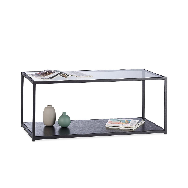 Relaxdays Couchtisch Glas Eckig Metallgestell Glasplatte Ablage