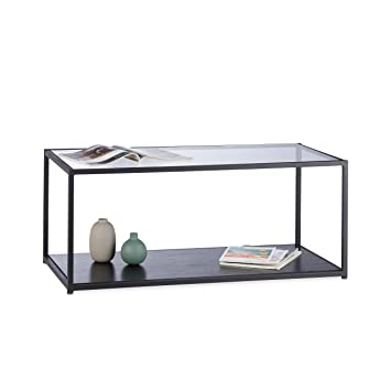 Relaxdays Glass Coffee Table Rectangular Metal Frame Glass