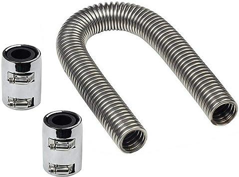 24/'/' Stainless Steel Chrome Radiator Flex Coolant Water Hose Kit Radiator Cover