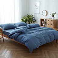 FACE TWO FACE 3-piece Duvet Cover Queen,100% Washed Cotton Duvet Cover,Ultra Soft and Easy Care,Simple Style Bedding Set (QUEEN, Navy blue)