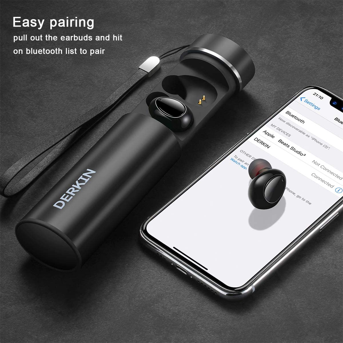 Workout Wireless Earbuds, Derkin TWS X7 Best Bluetooth 5.0 Headphones 3D Stereo 16H Playtime Sweatproof Earphones Built-in Dual Mic,Noise Cancelling Wireless Headphones for Sport