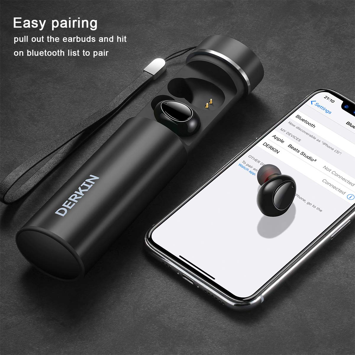 Wireless Earbuds, Derkin TWS X7 Best Bluetooth 5.0 Headphones 3D Stereo 16H Playtime Sweatproof Earphones Built-in Dual Mic,Noise Cancelling Wireless Headphones