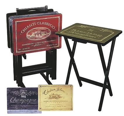 Amazoncom Cape Craftsman Wine Label Tv Trays With Stand Set Of 4
