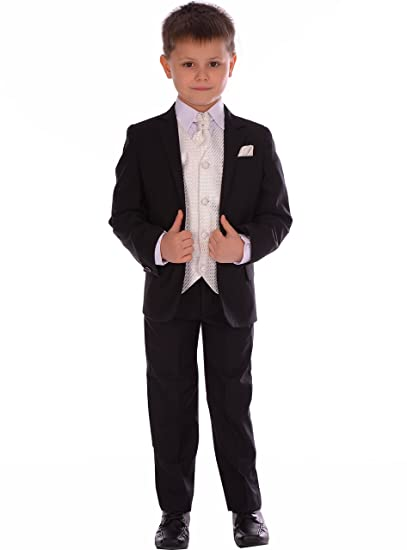 4e054ed540cc Boys Suits Black Fitted Suit with Ivory Waistcoat,Cravat and Pocket Square  Wedding Pageboy Formal Suit 5 Piece 0-3m to 14-15 Year: Amazon.co.uk:  Clothing