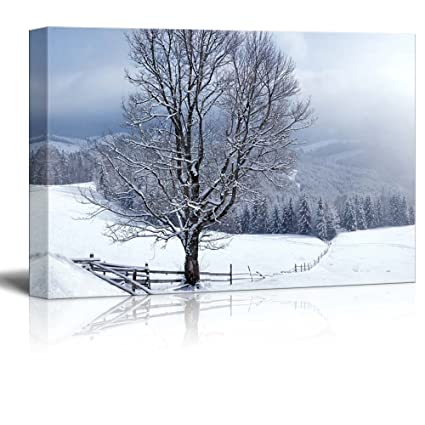 Amazon.com: Canvas Prints Wall Art - Beautiful Winter Landscape with ...