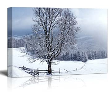 Canvas prints wall art beautiful winter landscape with snow covered trees 24