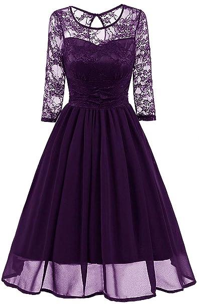 Bridesmaid Dresses Womens Vintage Floral Lace Sleeveless Formal Cocktail Dress R07 Purple 02 M