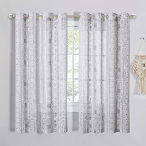 StangH Linen Sheer Curtains 63 inches - Bohemian Grey Geometric Design Sheer Voile Curtains Privacy Drapes for Living Room Decor, Grey, W50 x L63, 2 Panels