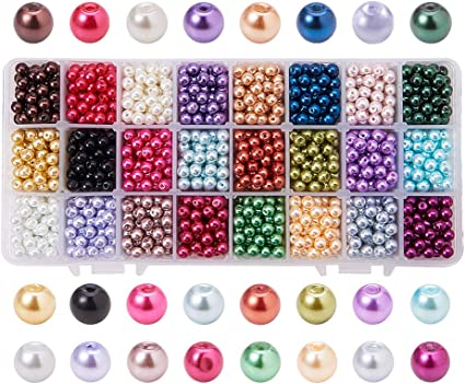 100 beads jewellery making 6mm Glass faux Pearls Black