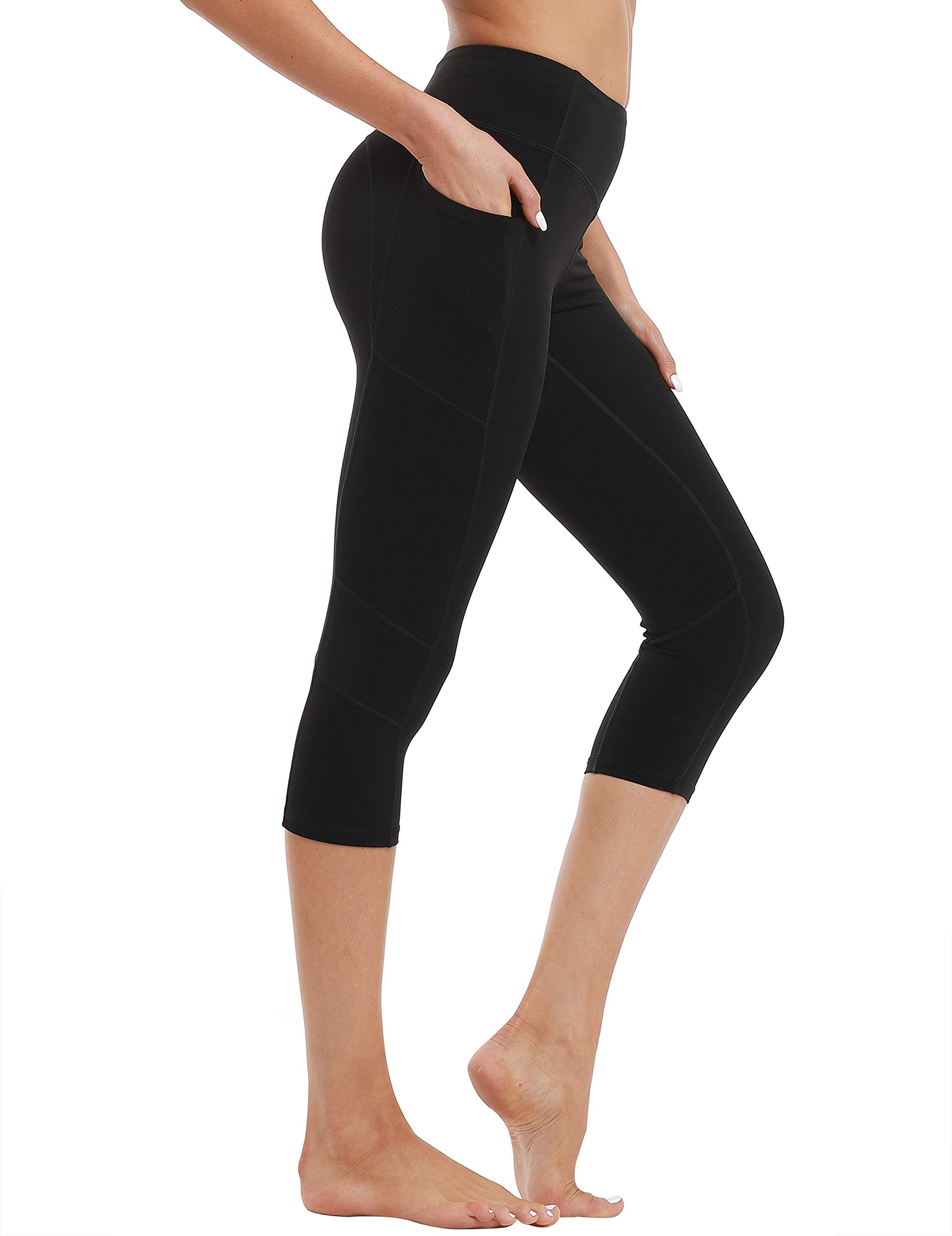 Hopgo Women's 3/4 Workout Legging Crop Yoga Pants Tummy Control Sports Tights Black US S