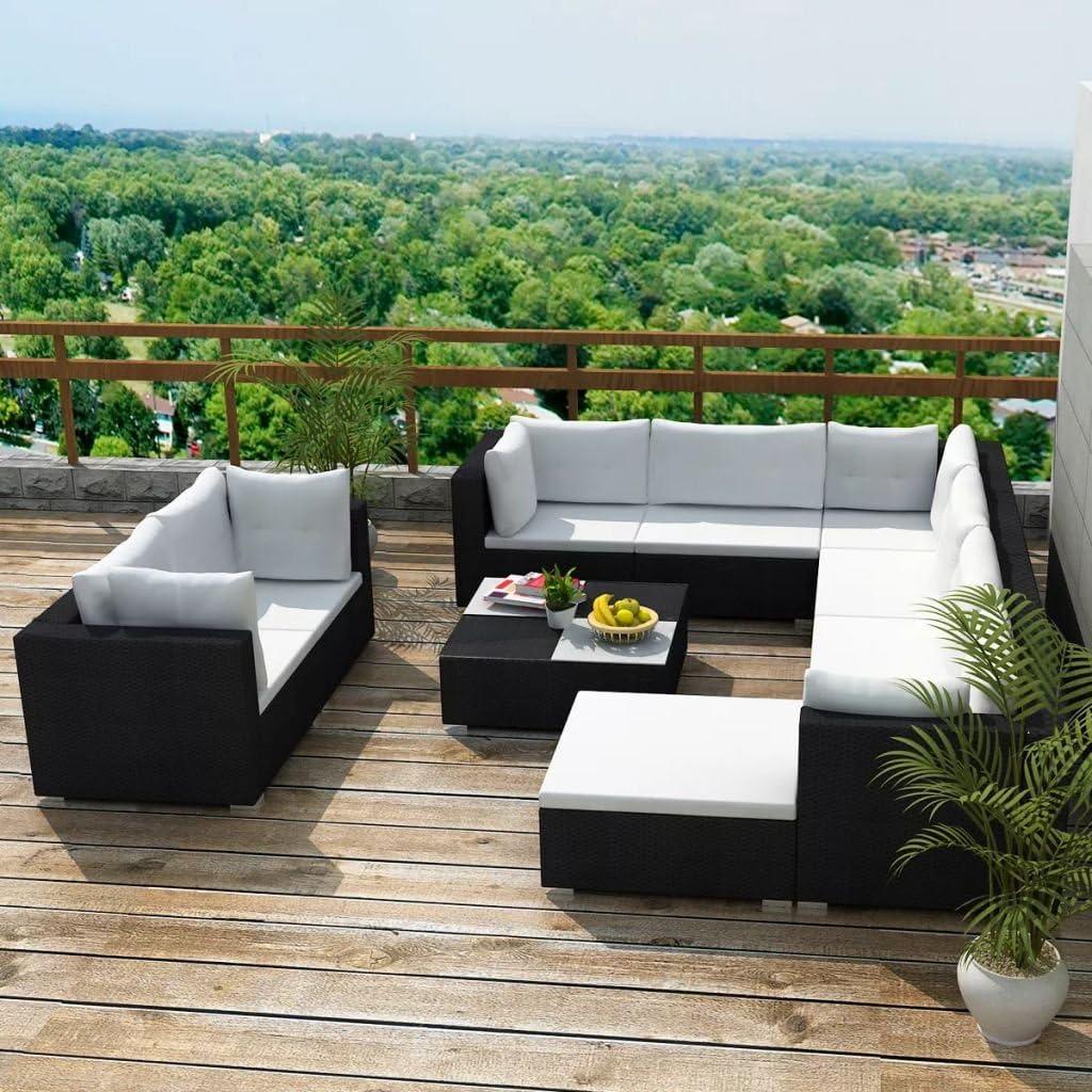 Namotu vidaXL 10-TLG. Garten-Lounge-Set mit Auflagen Poly Rattan Schwarz