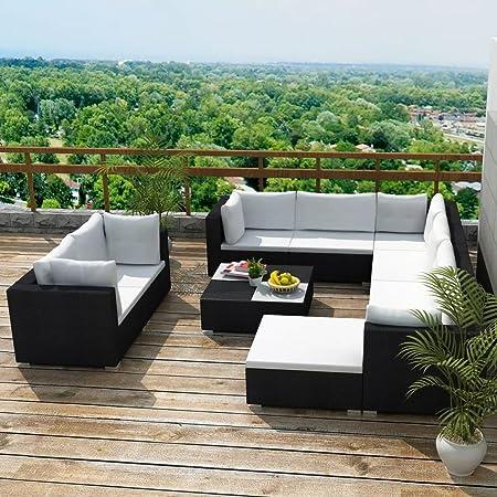 Tidyard Conjunto Muebles de Jardín de Ratán 32 Piezas Sofa Jardin Exterior Sofas Exterior,Estructura de Acero,Cojines Extraíbles,Poli Ratán,Negro(Combinable de Diferentes Formas): Amazon.es: Hogar