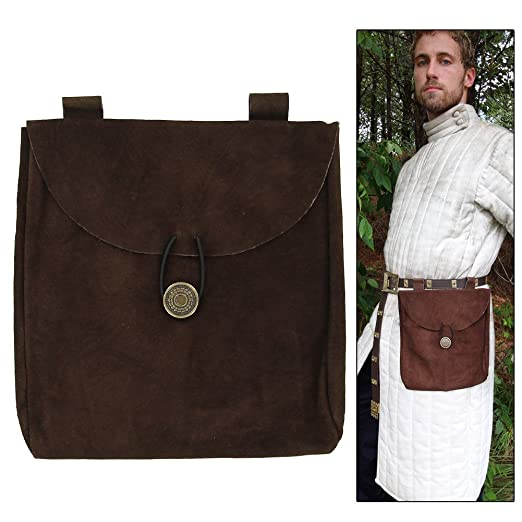 Deluxe Adult Costumes - Medieval Renaissance Large Brown Suede Leather Pouch by Armory Replicas