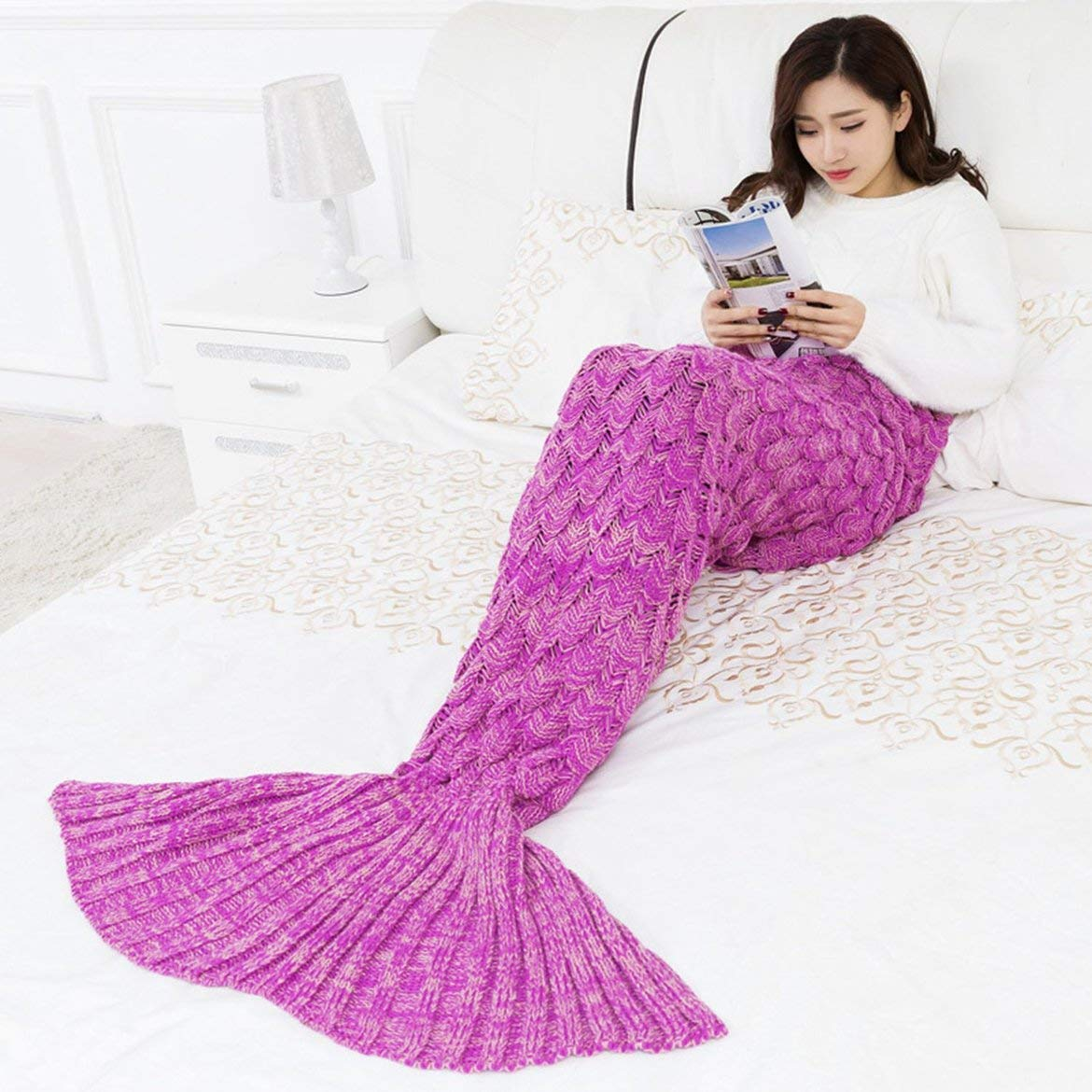Handmade Mermaid Tail Blanket,INS Sofa Bedding Quilt Rug Knit Blanket, Gorgeous & Cosy Mermaid Blanke/Sleeping Bag/crocheted bag for Adults and Kids - Crimson 145x70CM ( Color : Crimson , Size : - ) by Oudan