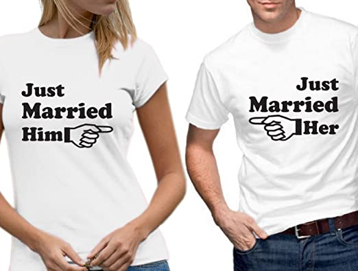 27212ba709 Just Married Him Her Arrow Wedding T-Shirt Set (S) White: Amazon.co.uk:  Clothing