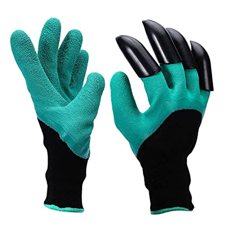 Clomana Gardening Gloves with Right Hand Fingertips for Pruning, Digging & Planting with 4 ABS Plastic Claws - 1 Pair Glove - One Size Fits All