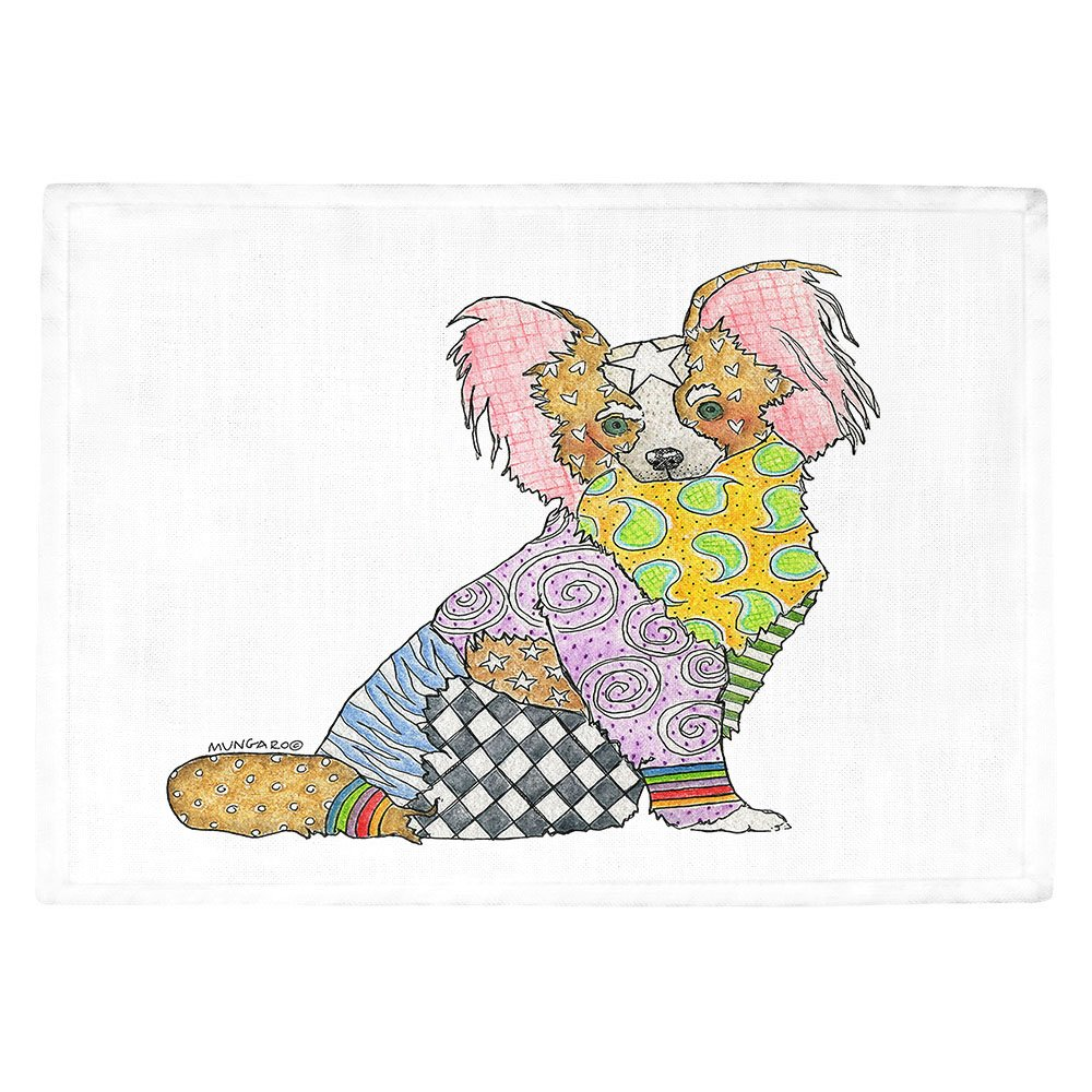 DIANOCHEキッチンPlaceマットby Artist Marley Ungaro – パピヨンホワイト Set of 2 Placemats PM-MarleyUngaroPapillonWhite1 Set of 2 Placemats  B01N8SZ8WG