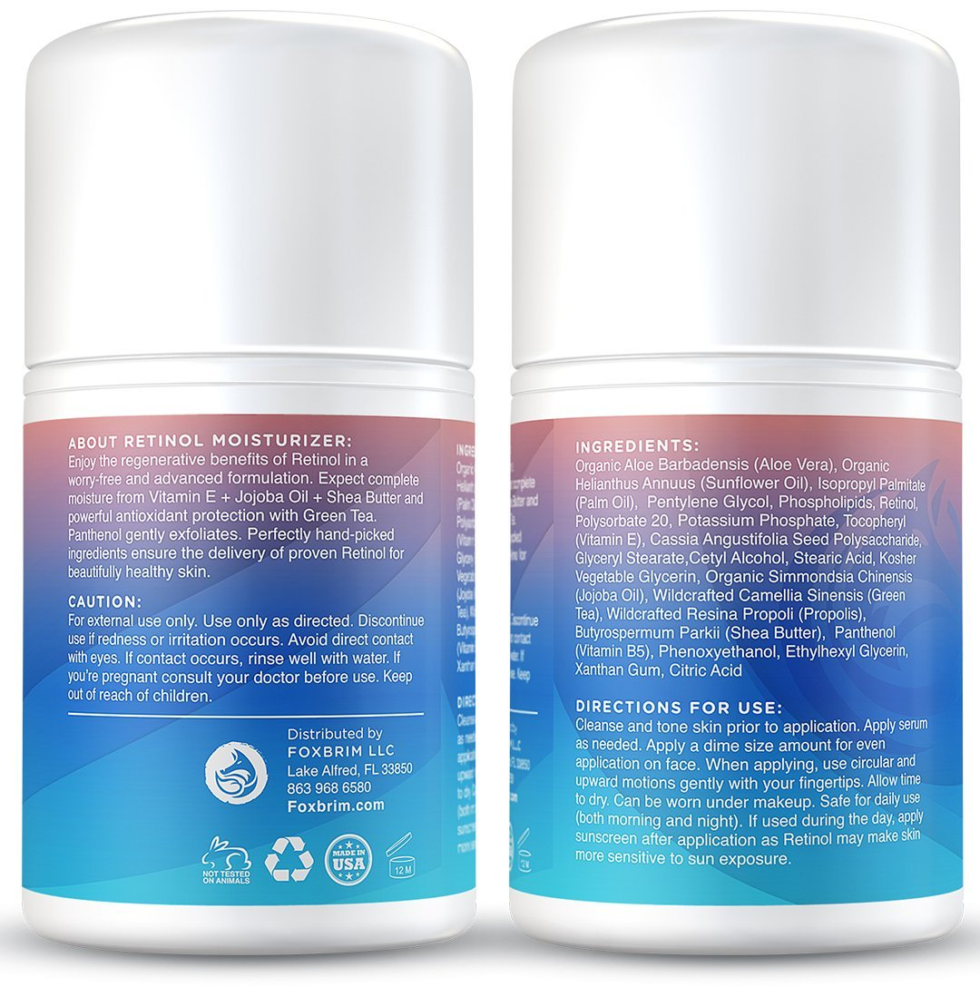 Retinol amounts in moisturizers - Amazon Com Foxbrim Retinol Cream Advanced Complex Face Moisturizer Anti Aging Cream With Natural Organic Ingredients 1 7oz Beauty